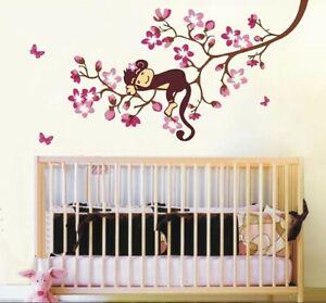 Vinilo-Decorativo-Rama-Mono-Pegatinas-Pared-Infantiles-Animales-Mural-Adhesivo