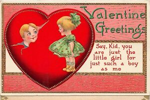 D62-Valentine-039-s-Day-Love-Holiday-Postcard-Series-7130-c1910-Kids-Gold-Heart-4