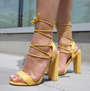 Yellow Lace Heels