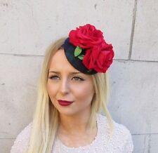 Navy Blue Green Tartan Plaid Red Rose Flower Fascinator Hat Hair Clip Vtg 2574