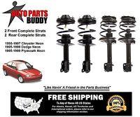 2 Front Complete Struts 2 Rear Complete Struts Neon Lifetime Warranty W/shipping