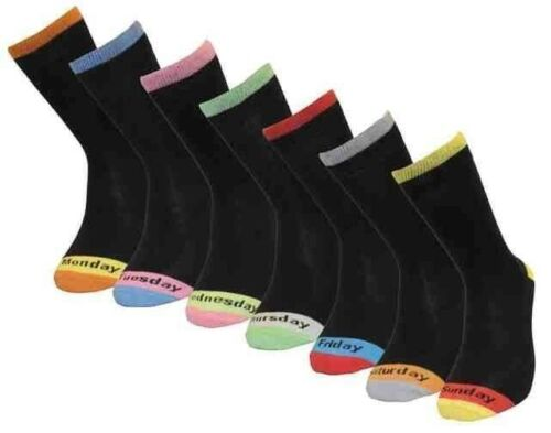 MENS Weekly Name Day Socks Monday to Sunday 7 Pairs Adult Socks Cotton Rich 7-11