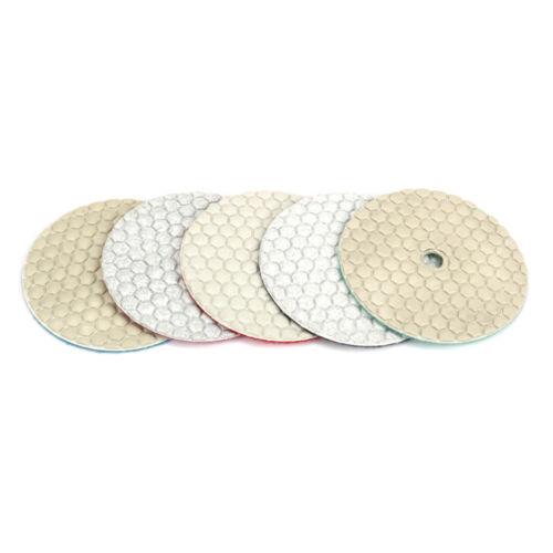 "4/"" Dry Diamond Polishing Pads Grinding Tool for Stone 0~5 Grit 5//8/"" Shank 6Pcs"