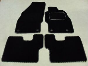Vauxhall-Corsa-D-2006-14-Fully-Tailored-Deluxe-Car-Mats-Black-Black-Silver-Trim