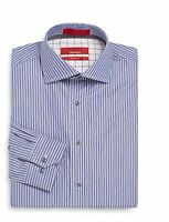 Saks Fifth Avenue Red Men's Dress Shirt Trim Fit Track Stripe Blue 14.5 Up