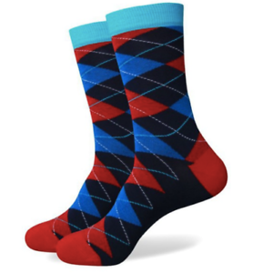 Mens-Crew-Socks-Argyle-Bligh-Sock-Bright-Cool-Colourful-Happy-Funky