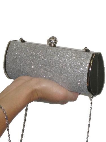 Glitter Diamante Pochette Ladies Crown Metallic Argent wqEWWx8H5