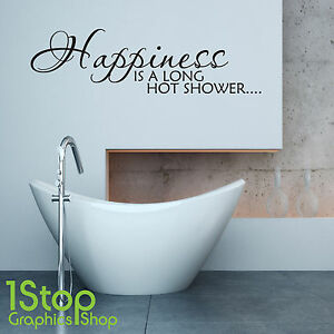 Happiness Is A Long Hot Shower Wall Sticker Quote Bathroom Wall