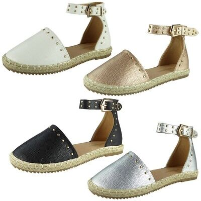 Kids Girls Ankle Strap Espadrilles Studded Flatforms Childrens Comfy Shoes Size