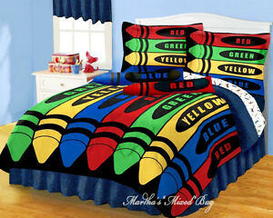 Image Is Loading Boys Girls Multi Color CRAYONS Comforter Sheet Set