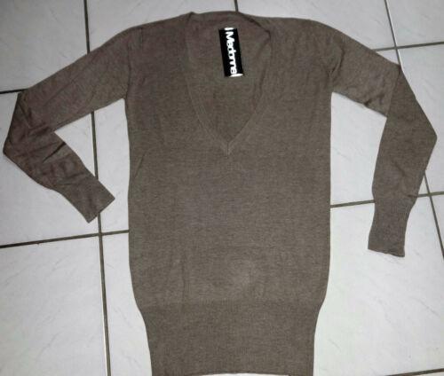 Señora finamente truco suéter suéter beige finamente truco suéter escote en V viscosa