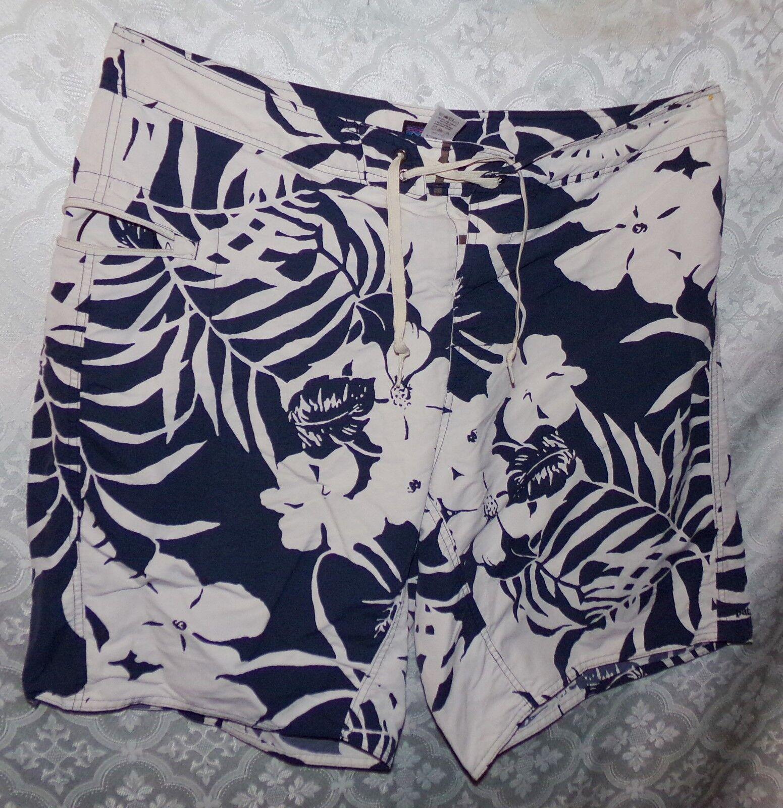 Patagonia Mens Swim Trunks Shorts Board 38 bluee White Floral Print