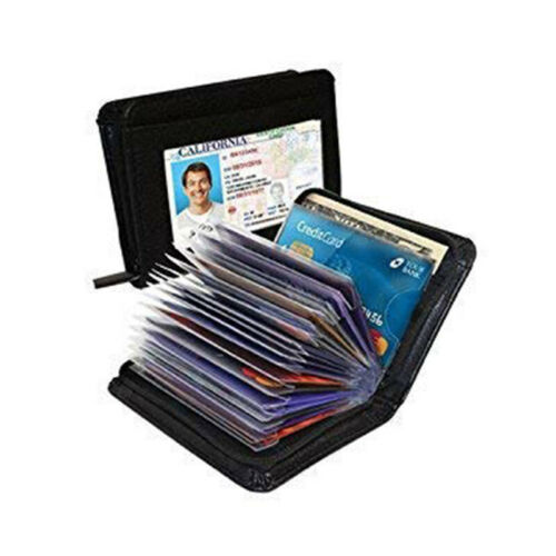 18 Cards Men's Wallet PU Credit Card Holder RFID Blocking Zi