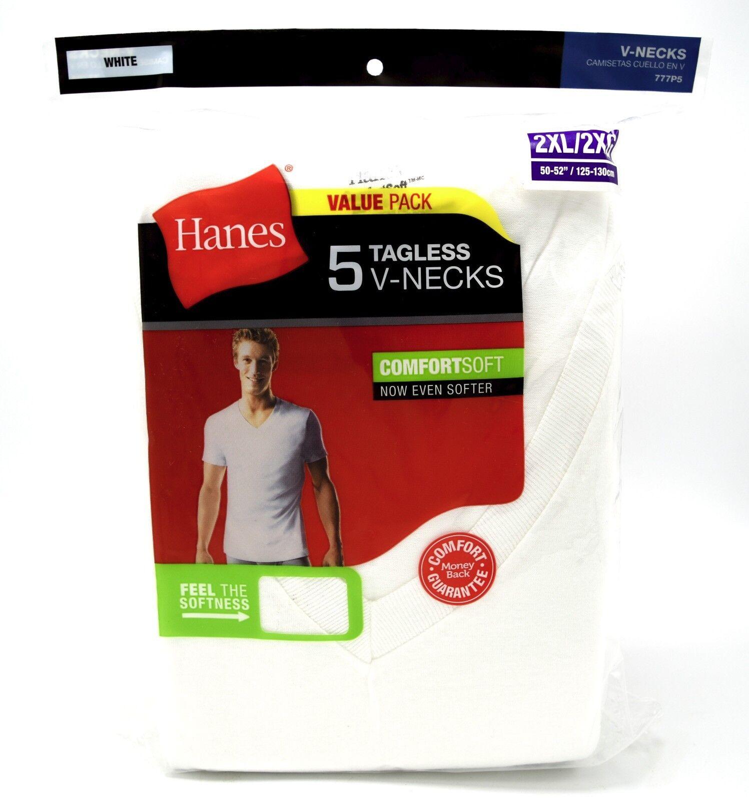 15 Hanes Weiß 2XL 127-132cm V-Ausschnitt T-Shirt Etikettenlos Comfortsoft 2XG