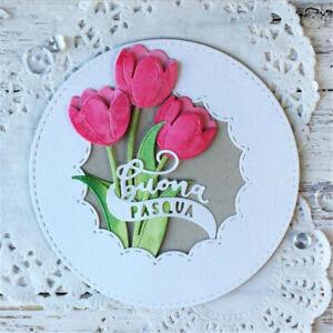 Stanzschablone-Blume-Tulpe-Weihnachten-Hochzeit-Geburtstag-Karte-Album-Deko-DIY