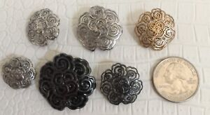 Authentic-CHANEL-BUTTONS-6X-CC-Logo-Gold-Black-Silver-Metal-Floral-18mm-28mm-NEW