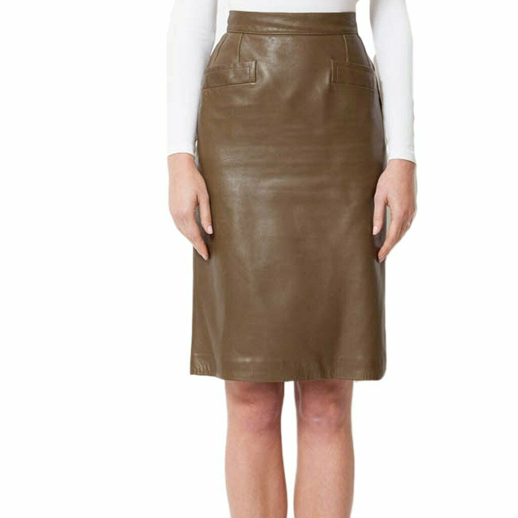 Hot  Women's Genuine Lambskin Leather Skirt Soft Below Knee Slim Skirt LS11