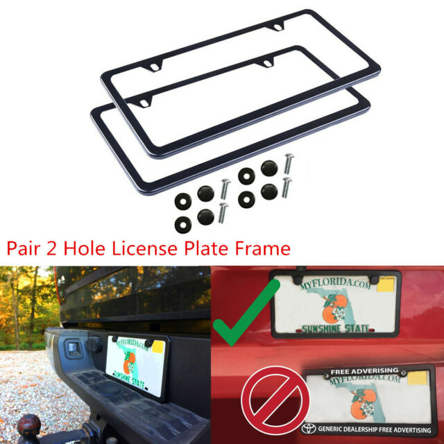 2pcs Black Stainless Steel License Plate Frame 2 Hole With S Fasteners Caps