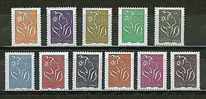 SERIE-TIMBRES-3731-3741-NEUF-XX-LUXE-MARIANNE-DE-LAMOUCHE