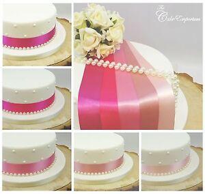 SATIN-RIBBON-35mm-amp-PEARLS-CAKE-DECORATION-BIRTHDAY-WEDDING-CAKE-TOPPER-TRIM