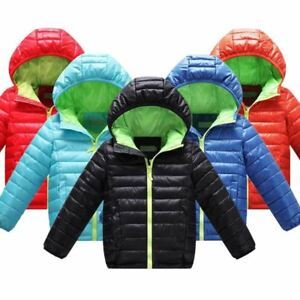 55c27fd37 Details about Boys Children's Outerwear Winter Warm Hooded Coat Cotton  Padded Clothes boy Down