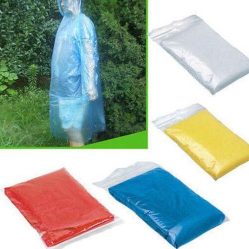 100Pcs Disposable Poncho Plastic Rain Coat Festival Camp Waterproof Emergency AV