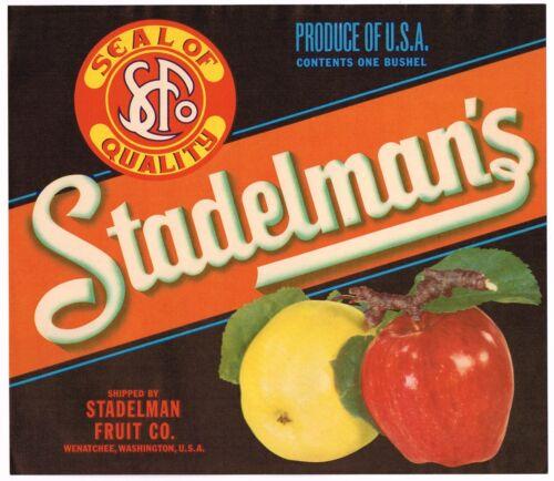 ORIGINAL VINTAGE  APPLE CRATE LABEL STADELMANS FRUIT CO WENATCHEE WASHINGTON