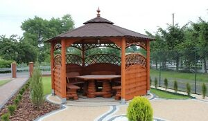 Extrem Pavillon sechseckig aus Holz Montage im Preis   eBay VX59