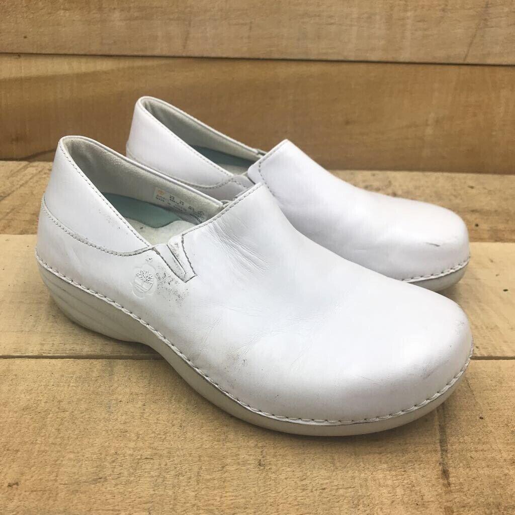 Timberland Pro Womens Renova Nursing Shoes White Leather Comfort Slip Ons 8.5