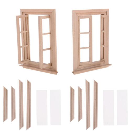 1//12 Dollhouse Miniature Unpainted Wooden 6-Pane Double Window Frame 2 Set