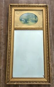 Mirror 28 x 14 Vintage gold gilt wall mounted insert picture painting antique