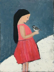 Friends for Life Girl & Chickadee Animal Painting Original by Katie Jeanne Wood