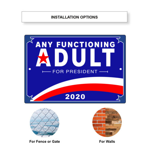 Any Functioning Adult For President 2020 Aluminum Metal Sign