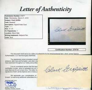 Clark Griffith Jsa Coa Autographed Vintage 3x5 Index Card Hand Signed Authentic
