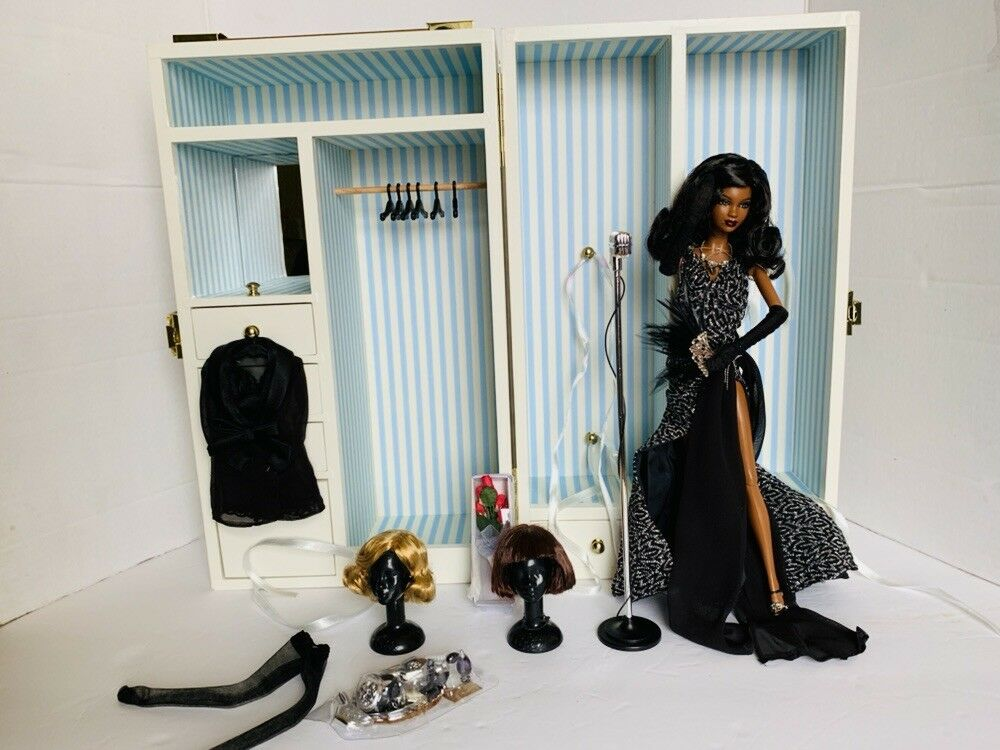 Muñeca Barbie Jazz Diva Jazz Bebé Muñeco de coleccionista de etiqueta dorada Menta con armario