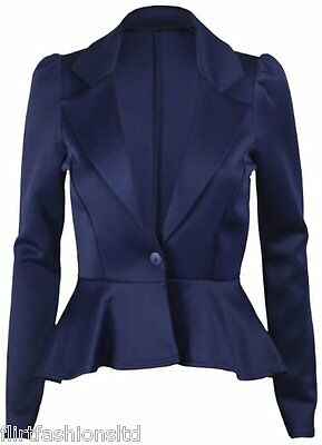 Womens Jacket Ladies Peplum Frill Shift Top Tail Back Cropped Blazer Party 8-14
