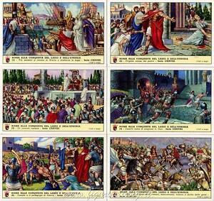kaartspellen Figurine Lavazza serie n°128 Roma alla Conquista di Lazio e Etruria ANNO 1957