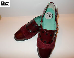 Bc Shoe Co Goth. Rockabilly Steampunk Shoes Burgundy Velvet Studded womens New