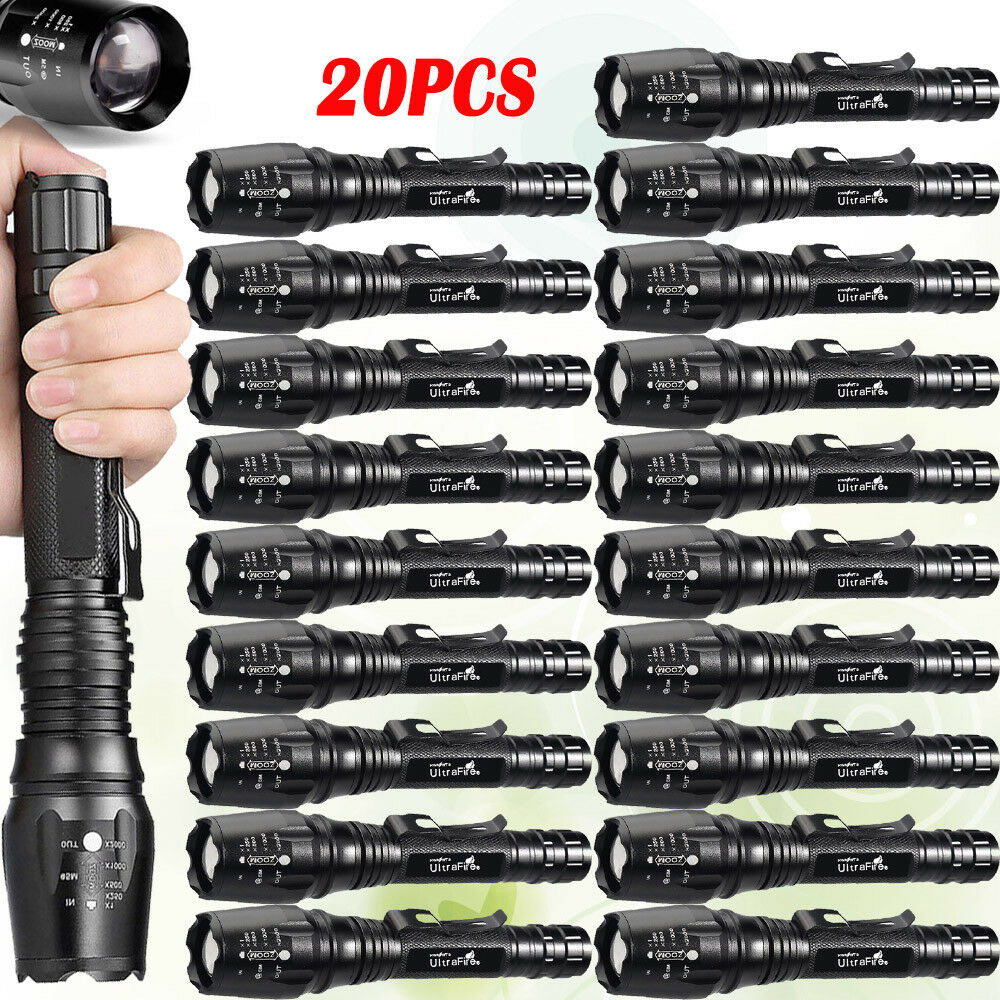 20pcs Zoomable Flashlights 5-Modes 50000LM T6 LED 18650 Focus Light Torch  c