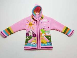 colorful sweater- children Pink Hooded cardigan Handmade Peruvian Sweater EMBROIDERED KIDS SWEATER Handmade kids cardigan