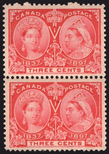 Canada #53 3c Bright Rose 1897 Jubilee Issue XF MLH Vertical Pair