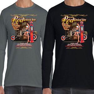 Herren Hotrod 58 Langarm T-Shirt Service Pin Up Ratte Kordel Garage Oldtimer 51