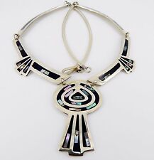 "Vintage Alpaca Silver Mexico  20"" Abalone and Black Enamel Necklace 33.2 Grams"