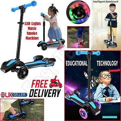Years Children Modern Kids Jet Push Scooter LED Smoke Rear Music Speaker Age 5