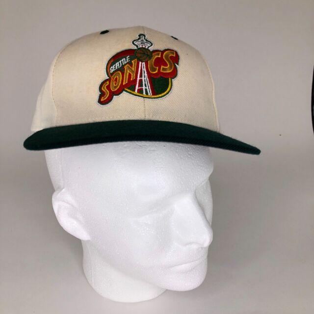 Rare Vintage Seattle Sonics Supersonics NBA Snapback Cap Hat Green Gold White