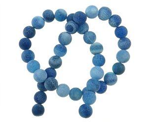 Achat-Perlen-Blau-10mm-Edelstein-Matt-Kugel-New-Gem-Agate-Beads-R312
