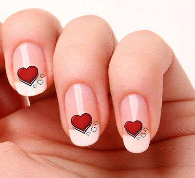 20 Nail Art Decals Transfers Stickers #29 - Hearts red & black valentines day