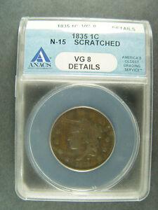 1835 ~ CORONET HEAD ~ LARGE CENT ~ VG | eBay