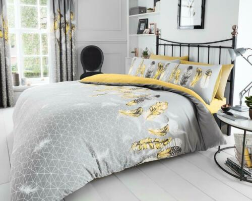 Feathers Pattern Luxury Duvet Cover Sets Quilt Covers Reversible Bedding Sets GC