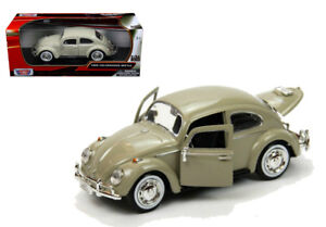 1966 VW Bug Volkswagen Beetle Diecast Car 1:24 Motormax 6.5 inch Roof Basket RED